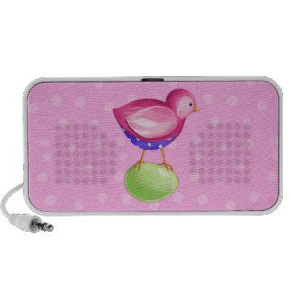 Doodle rosado del rosa del pájaro portátil altavoces