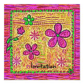 Doodles de la flor invitación 13,3 cm x 13,3cm
