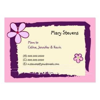 Doodles de la flor tarjetas de visita grandes