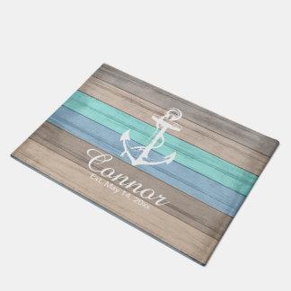 Doormat náutico de madera el | Zazzle de la raya