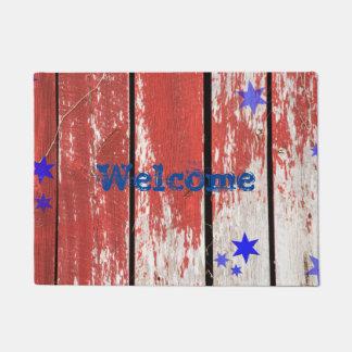 Doormat patriótico de madera del granero