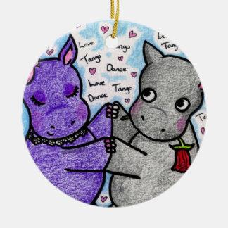 Dos a los hipopótamos del tango adorno navideño redondo de cerámica