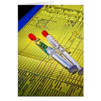 Dos agujas en carta médica tarjeta de felicitación