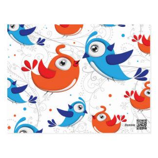Dos amantes naranja del pájaro y modelo del azul postal