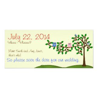 Dos búhos ahorran la fecha invitación 10,1 x 23,5 cm
