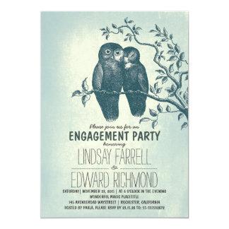 dos búhos en amor y fiesta de compromiso de la invitación 12,7 x 17,8 cm