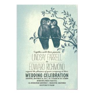 dos búhos en invitaciones del boda de la rama del invitación 12,7 x 17,8 cm
