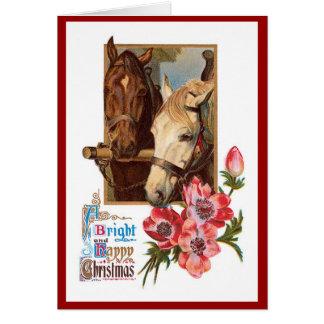 Dos caballos - una tarjeta de las Navidad