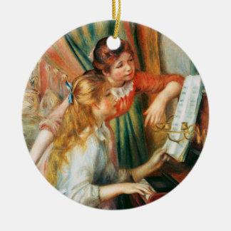 Dos chicas en el piano, Pedro Auguste Renoir Adorno Navideño Redondo De Cerámica