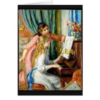Dos chicas en el piano - Pedro Auguste Renoir Tarjeta De Felicitación