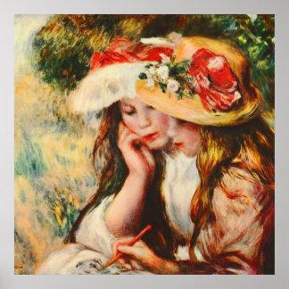 Dos chicas que leen en una bella arte de Renoir