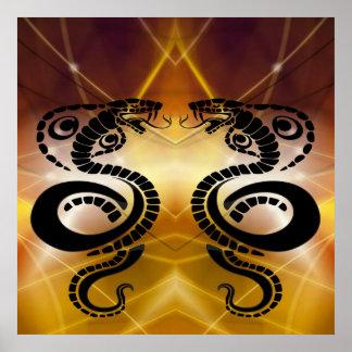 Dos cobras negras que hacen frente apagado en póster