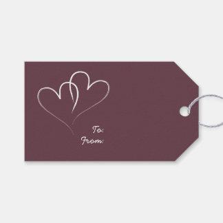 Dos corazones blancos - Borgoña Etiquetas Para Regalos