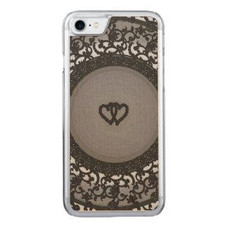 Dos corazones ennegrecen mirada de la lentejuela funda para iPhone 7 de carved