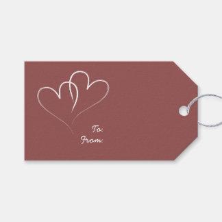 Dos corazones etiquetas para regalos