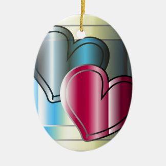 dos corazones junto y brillante coloreado adorno navideño ovalado de cerámica