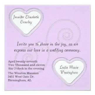 Dos corazones que casan la invitación