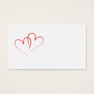 dos corazones rojos entrelazados tarjeta de visita