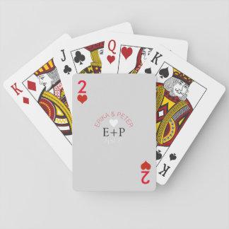 dos del monograma del boda del amor de los barajas de cartas