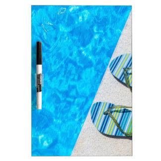 Dos deslizadores de baño en el borde de la piscina pizarra blanca