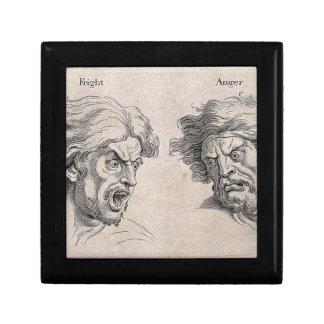Dos dibujos de caras enojadas caja de regalo