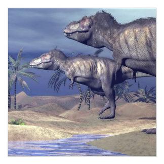 Dos dinosaurios del tyrannosaurus invitación 13,3 cm x 13,3cm