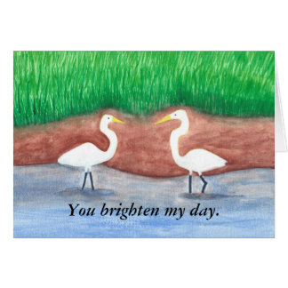 Dos egrets blancos, pájaros aclaran mis tarjetas