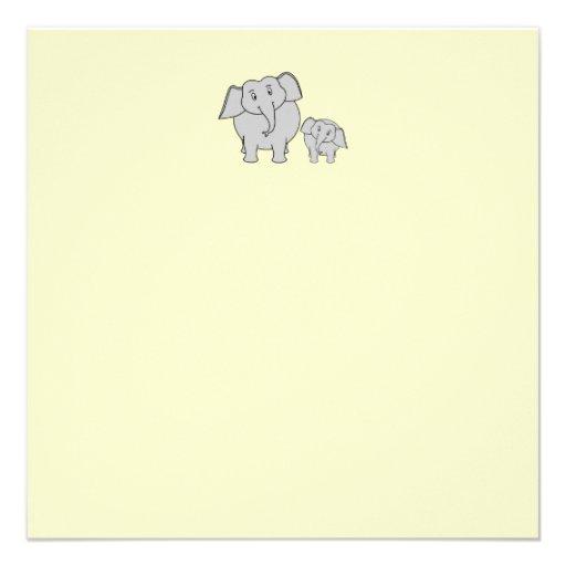 Dos elefantes. Adulto e historieta lindos del bebé Anuncio Personalizado