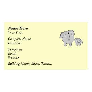 Dos elefantes. Adulto e historieta lindos del bebé Tarjetas De Visita