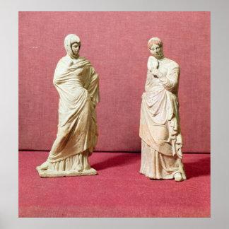 Dos estatuas de mujeres derechas de Tanagra Póster