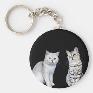 Dos gatos británicos del pelo corto en fondo negro llavero redondo tipo chapa