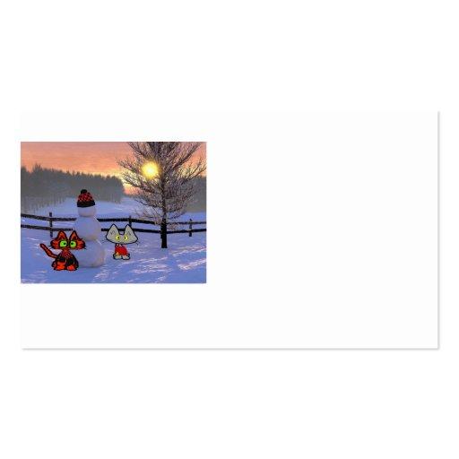 Dos gatos en la nieve con un muñeco de nieve plantilla de tarjeta personal
