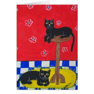Dos gatos negros tarjeta de felicitación