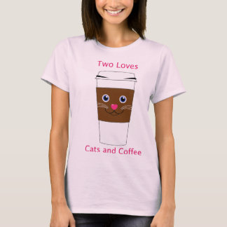 Dos gatos y cafés de los amores camiseta