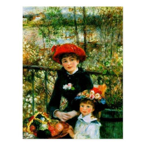 Dos hermanas (en la terraza) por Pedro Renoir Tarjeta Postal