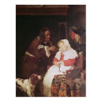 Dos hombres con una mujer durmiente, c.1655-60 postal