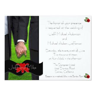 Dos invitaciones gay de encargo del boda de los comunicados personales