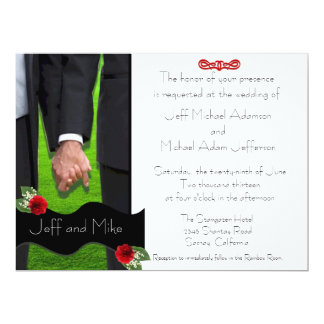 Dos invitaciones gay de encargo del boda de los invitación 16,5 x 22,2 cm