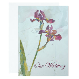 dos iris púrpuras que casan la invitación