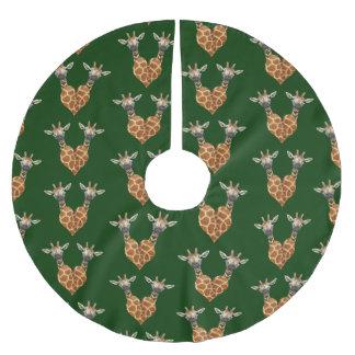 Dos jirafas preciosas falda para el árbol de navidad de poliéster