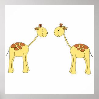 Dos jirafas que hacen frente. Dibujo animado Póster