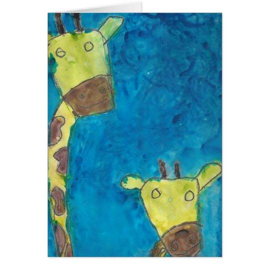 Dos jirafas tarjeta de felicitación
