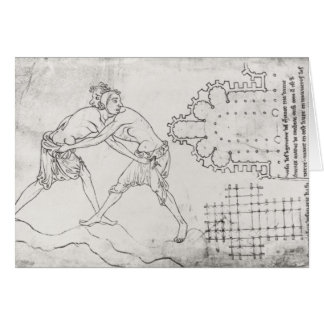 Dos luchadores, plan de una iglesia cisterciense tarjeta