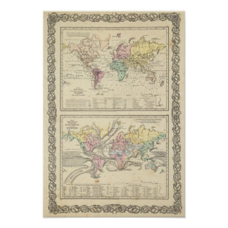 Dos mapas del mundo póster