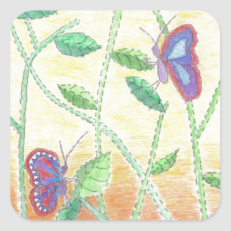 Dos mariposas en bosque pegatina cuadrada