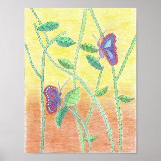 Dos mariposas en bosque póster