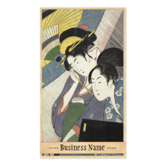 Dos mujeres bajo arte de Kitagawa Utamaro del para Tarjeta Personal