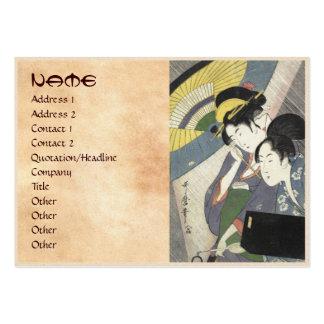 Dos mujeres bajo arte de Kitagawa Utamaro del para Tarjetas De Visita