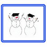 Dos muñecos de nieve de graduación escultura fotográfica