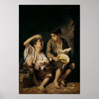 Dos niños que comen un melón y las uvas, 1645-46 póster